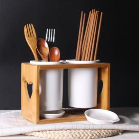 【筷子筒】陶瓷筷子筒 家用筷笼陶瓷沥水筒带木架套装 日用陶瓷