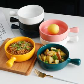【碗】ins北欧简约色釉陶瓷烤碗创意带柄泡面碗家用烤箱意面沙拉焗饭碗