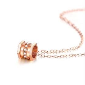 18k钻石吊坠女玫瑰金小蛮腰镶钻项链套链 送银链
