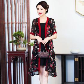 CMY82339新款优雅气质真丝拼接印花外披吊带裙两件套TZF