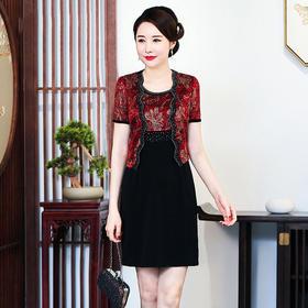 CMY92337新款优雅气质修身背心衣裙印花烫钻上衣两件套TZF