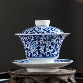 三才盖碗单个小号景德镇青花陶瓷泡茶杯茶碗手工功夫茶具二十四器