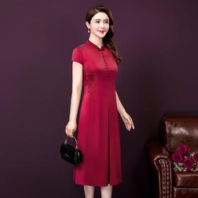 YMR8336新款刺绣纯色气质修身连衣裙TZF