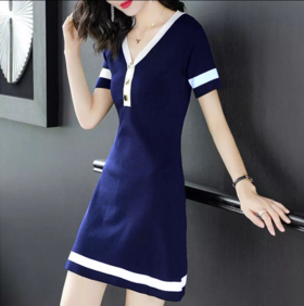 PDD-CZLFS200614新款时尚气质收腰显瘦短袖V领针织连衣裙TZF