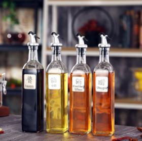 【油壶】厨房调料瓶创意日式不锈钢玻璃油壶按压式玻璃油瓶调味罐醋瓶