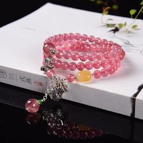 天然草莓晶多宝三圈长绕手
