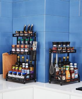 【置物架】黑色不锈钢厨房调味调料架油盐酱醋收纳瓶置物架新品家居用品