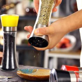 【研磨器】手动胡椒研磨器创意胡椒研磨玻璃瓶厨房用品花椒磨粉器