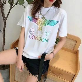 BOY LONDON烫金翅膀印花T恤女圆领短袖白色黑色