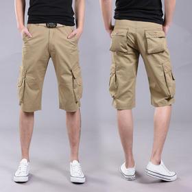 PDD-HJM200616新款夏季薄款纯棉宽松直筒工装多口袋马裤TZF