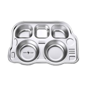 【餐盘】不锈钢儿童餐盘幼儿园宝宝餐盘防摔分格饭盘卡通304快餐盒盘