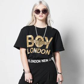 BOY LONDON烫金短袖男2020夏季拼贴老鹰印花落肩T恤