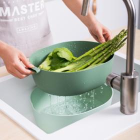 【洗菜篮】厨房洗菜盆淘米器 家用创意双层洗菜篮沥水篮 塑料洗菜篮子水果篮