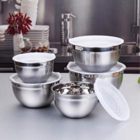 【厨房配件】304色拉碗硅胶底防滑不锈钢打蛋盆 黑色韩式沙拉盆/烘焙工具