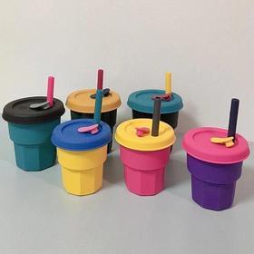 【满2件减5元】minnow硅胶高颜值吸管杯儿童宝宝随手水杯软杯子食品级网红咖啡杯