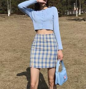 【两条优惠!2020新款  bm风a字短裙  5色可选 】 夏季新款包臀高腰显瘦格子裙 自带安全裤 经典简约设计感