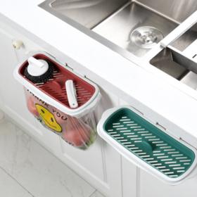 【厨房配件】厨房橱柜挂式垃圾袋架挂架子无痕门背塑料垃圾挂架支架