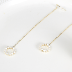925银 珍珠圆圈耳线 仙女必备