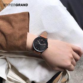 HYPERGRAND哈格时尚情侣皮革表带石英腕表