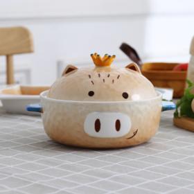 【碗】日式可爱土豆小猪陶瓷泡面碗皇冠卡通带盖男女学生宿舍大号汤碗