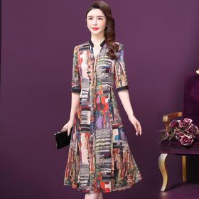 WXY-XY-8202新款时尚气质立领印花连衣裙TZF