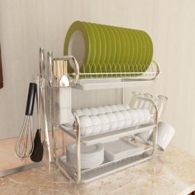 【厨房置物架】铁艺厨房三层沥水碗碟架 多功能放碗9字收纳置物碗架