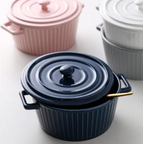 【碗】北欧风格简约陶瓷带盖双耳碗沙拉碗防烫泡面碗家用个性大汤碗