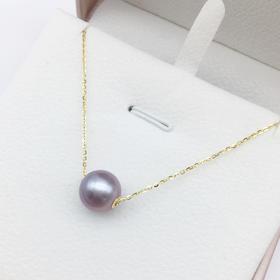 路路通*天然淡水紫色珍珠项链  s925银链