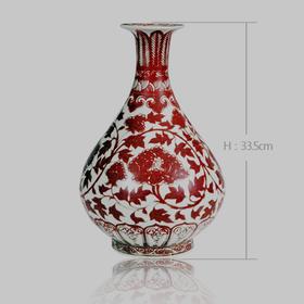 景德皇窑 仿明洪武釉里红缠枝牡丹纹玉壶春瓶.
