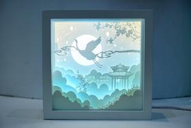 湖光山色3D光影纸雕灯