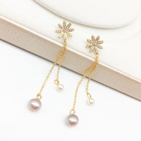 百搭小雏菊系列*天然淡水双色珍珠耳线耳饰