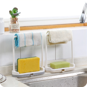 【厨房配件】厨房塑料抹布收纳挂架免打孔毛巾沥水置物架