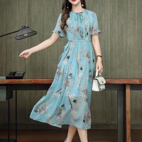 气质显瘦,短袖设计感中长款碎花真丝连衣裙KQN-1941