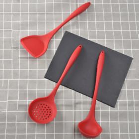 【厨房配件】亚马逊硅胶厨具三件套 耐高温一体式全包漏勺 厨房用具锅铲汤勺