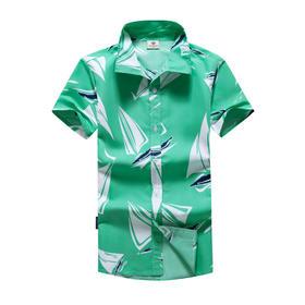 【寒冰紫雨】  印花色男士短袖衬衫 青年男式休闲寸衫衣服  韩版修身款男衬衣免烫  CCCQC46