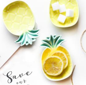 【餐盘】 ins创意可爱菠萝家用小碟子陶瓷碗酱油碟调味碟可爱陶瓷盘子