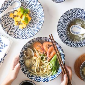 【餐具】 釉下彩日式陶瓷餐具盘子家用菜盘创意圆形盘调味碟米饭碗