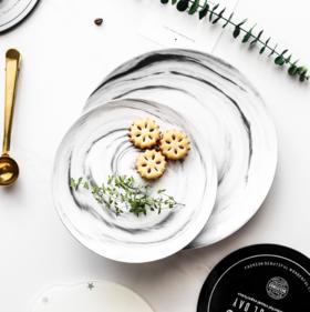 【餐盘】大理石纹碟子创意陶瓷早餐盘子牛排西餐盘蛋糕盘北欧家用餐具