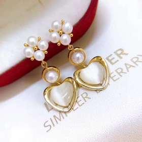 珍珠爱心*天然淡水珍珠耳钉耳饰   时尚百搭