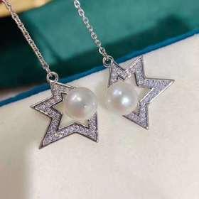 天淡水珍珠长款耳环   完美关系陈数斯黛拉同款