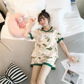 韩版春秋薄款睡衣女夏冰丝短袖甜美仿真丝性感V领两件套装家居服