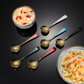 【餐具】304韩式圆头勺镀钛金不锈钢勺子西瓜水果甜品勺汤匙圆勺