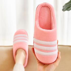 条纹棉拖鞋冬季防滑室内家居保暖家居拖鞋