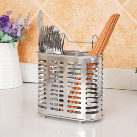 【筷子筒】304不锈钢筷子笼 家用收纳沥水多功能可立墙挂筷子筒