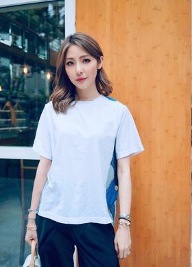 现货  Maison Covet 自有品牌 丝巾拼接T恤