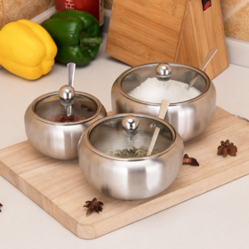 【厨房配件】304不锈钢调味罐 玻璃可视调料罐番茄不锈钢糖罐