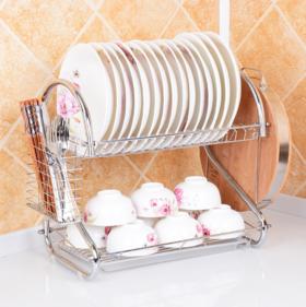 【厨房置物架】厨房置物架 双层沥水收纳碗架 滴水放碗碟架
