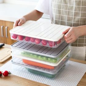 【保鲜盒】家用冰箱保鲜饺子盒 长方形塑料密封收纳盒 带盖密封式食品保鲜盒