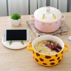 【碗】日式带盖卡通泡面碗杯动物手机支架陶瓷双耳汤碗可爱学生宿舍饭碗