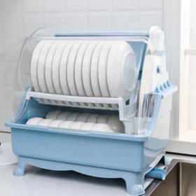 【厨房用品】厨房餐具碗筷碗碟收纳盒沥水架家用塑料带盖大号双层碗架
